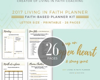 Printable Faith-Based Planner and Devotional // Instant Download // Mint & Gold // 26 Pages