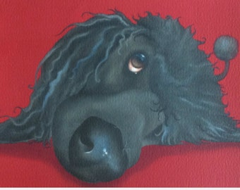 Pea the black standard poodle painting