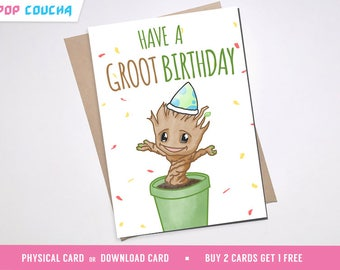 Groot birthday card greeting celebration boyfriend kids girlfriend boyfriend guardians of the galaxy peter quill awesome mixtape i am groot