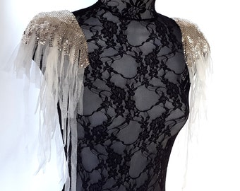 Silver chainmail epaulettes. White tulle fringed epaulettes. Statement shoulder jewelry perfect for Burning Man. 'Ice Queen'