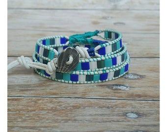 Boho Wrap Bracelet - Gift for Her - Leather Wrap Bracelet - Boho Bracelet - Blue Bracelet - Wrap Bracelet - Triple Wrap - Gift for Women