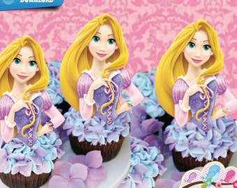 Rapunzel Cupcake Toppers, Tangled Birthday Party Rapunzel Printables