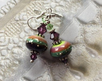 Mothers Day Gift, Purple and Blue Lampwork Earrings, Summer Earrings,Lampwork Earrings, Lampwork Jewelry, Gift For Her, SRA Lampwork Jewelry