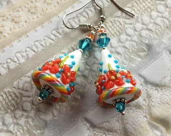 Flower Lampwork Earrings, Red and Blue Floral Earrings, Cone Earrings, Lampwork Jewelry,Mothers Day, Gift For Her