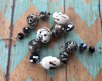 Beaded Necklace, White & Black Southwest Necklace, Southwest Jewelry, Southwestern Jewelry, Necklace, Gift For Her