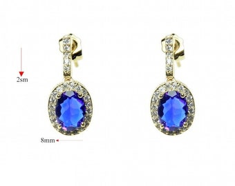 Blue zirconia diamond earrings  ,gold fielld 14 k jewelry with great care.zircon aaa Amazing earrings for every occasion