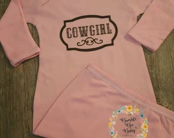 Newborn,  Cowgirl Onesie, Baby Bodysuit, or Gown