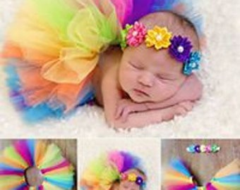 Newborn Rainbow TuTu, Photo Prop TuTu and Matching Headband, 1/2 Birthday, 6 Months Birthday...Super Cute