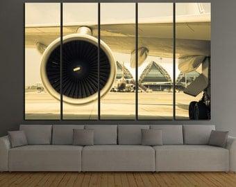Aviation Wall Art airplane canvas wall art. propeller turbine aircraft wall art