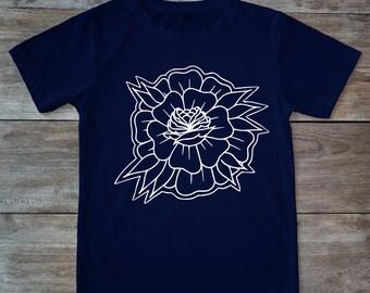 Tattoo flower, flower shirt, old school flower, hipster gift, tattoo rose, tattoo shirt, gift for tattoo lovers, classic tattoo art, tattoos