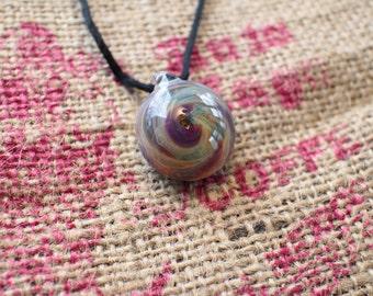 Handmade borosilicate glass psychedelic swirl pendant