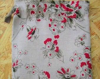 Pochon en lin Cerisier Japonais - Linen Pouch, Cherry blossom pattern from Japan