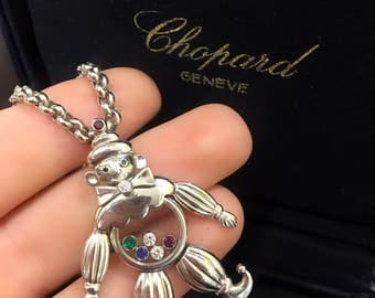 Authentic CHOPARD Vintage Happy Clown 18K White Gold Jelly Belly Necklace with Diamonds, Ruby, Sapphire, and Emerald Gemstones