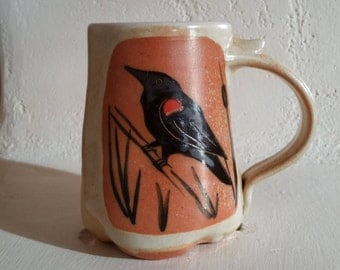 Pottery, Blackbird Mug, Stoneware, Wood Fired Coffee Cup, Handmade Mug