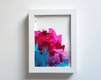mini study// blues #2//abstract original artwork//teal,hot pink,midnight blue//modern home decor//pretty wall art//anniversary
