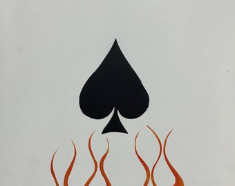 Oversized Ace Of Spades with Dice and Flames