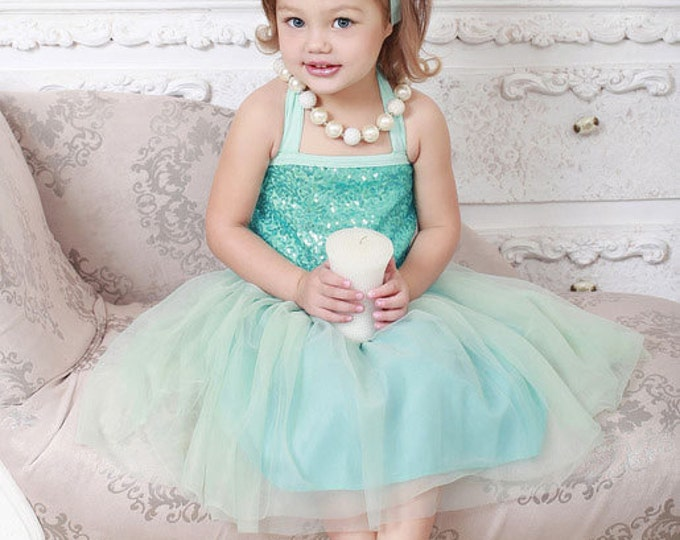 Aqua Baby Girls Tulle and Sequine Dress, PICK COLOR: Turquoise, Royal Blue, Red, Pink, Champagne, Aqua, baby girls tutu dress