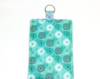 Smartphone Sleeve Case Keyring Blue White Grey Flowers