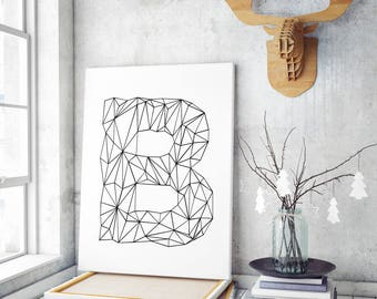 Letter B Wall Art, B Initial Printable, B Letter Print, Geometric, Letters Wall Art, Modern, Minimal, Scandinavian, INSTANT DOWNLOAD