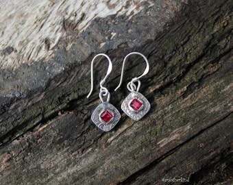 Square Fine 999 Silver Earrings with Blood Red Zircons