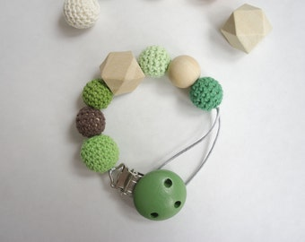 Dummy Holder and Teether / Organic Wooden beads / Crochet beads / wooden clip / baby gift / baby shower gift / 10% Profits go to Charity