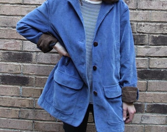 LL BEAN Vintage Gorgeous Blue & Brown Lined Corduroy Chore Barn Jacket Coat Women's Small