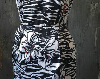Vintage Black & White Floral Rockabilly Summer Wiggle DRESS w pockets! 6 medium