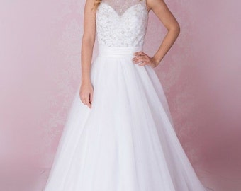 Beaded, illusion neckline ball gown wedding dress