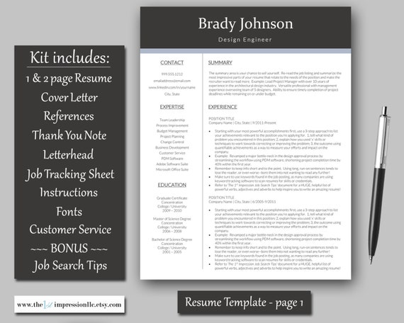 Resume Template Instant Download Microsoft Word PC