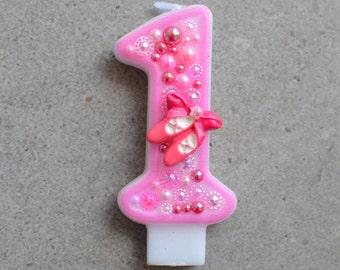 Ballerina candle / ballerina theme / ballerina topper / ballerina cake / birthday candle girl / pink birthday candle / 1st birthday candle