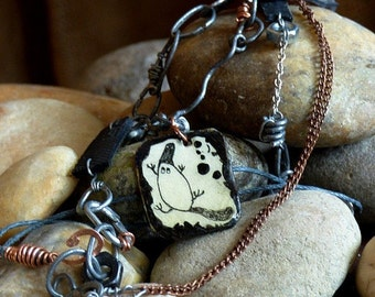 Hand-forged, recycled necklace - rustic chain necklace with platypus pendant