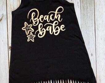 Beach Babe - Fringe Swim Cover Up - Girls Beach Dress - Cover up - Beach Cover Up - Summer Dress - Beach Outfit - Beach Shirt