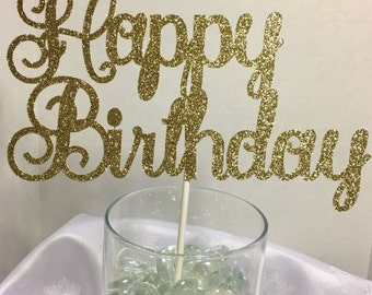 Happy Birthday Cake Topper Gold Glitter