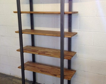 Steel and Oak contemporary shelving unit / storage shelves by STOAKED - Customisable