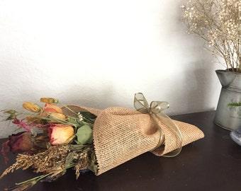 Medium Dried Flower Burlap Arrangement