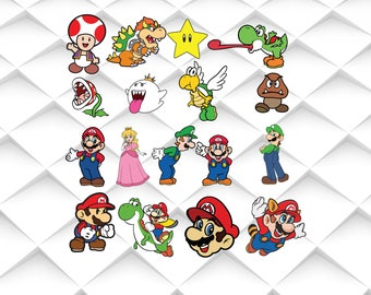 Super mario svg,png,jpg,eps for Print/Silhouette Cameo/Cricut and Many More