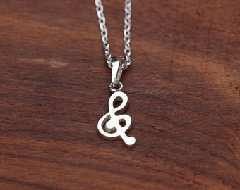 Treble Clef Necklace, Music Note Necklace, Sterling Silver Clef Pendant, Silver Necklace, Clef Jewellery, Silver Clef, Pendant, JP0012