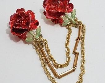 Beautiful Enameled Rose Motif Sweater Clip/Pins