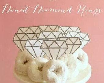 PRINTABLE Diamond Ring Topper for Mini Donut or cupcake - bachelorette party, bridal shower, engagement party, topper, diamond topper