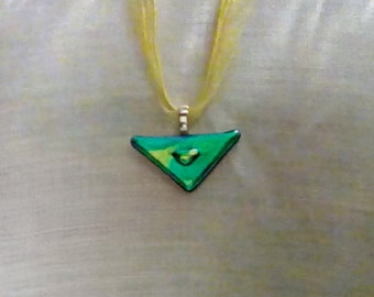 Symmetrical green dichroic glass pendant