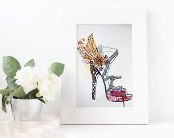 Aphrodite - high heel with genuine Swarovski crystals