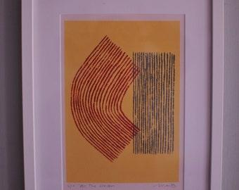 All the Seasons - Mid century, fifties inspired abstract screenprint. Modern, original, handmade fine art print, red, orange.