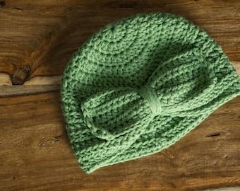 Bow Hat - Newborn || Green || Crochet || Big Bow