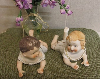 Vintage 1970's Lego Piano Babies Bisque Porcelain Figurines Boy & Girl Made in Taiwan
