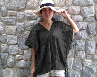 Plus Size Top / Large Black Loose Fit V-neck Cotton Blouse - Karen TOP008