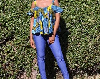 Kagiso Blue African Print Top
