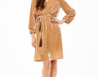 Gold velvet dress with waistband fully lined