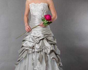 Silver and Ivory wedding / quincinnera gown