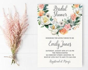 Bridal Shower Invitation, Printable Bridal Invite, Floral Bridal Shower Invitation, Bridal Shower Invitation Printable, Bride to be Invite