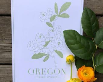 end of summer SALE - oregon state botanical  art print - wall art - wall decor